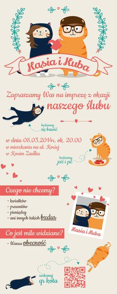 Wedding Invitation  | Design: www.pinkelephant.pl /layout /design /card /wedding /weeding card /cats