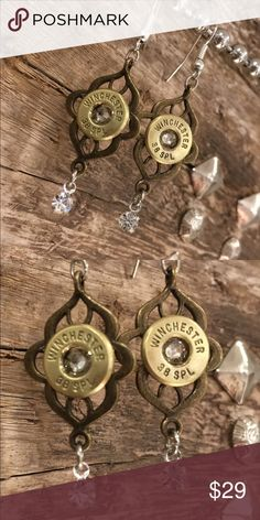 Bullet casing earings Winchester 38 special genuine fired bullet casings with silver crystal at center on bronze zinc alloy setting with silverplate ear hooks Jewelry Earrings