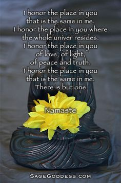 I honor the place in you that is the same in me. I honor the place in you where the whole universe resides. I honor the place in you of love, of light, of peace and truth. I honor the place in you that is the same in me. There is but one. #Namaste #SageGoddess