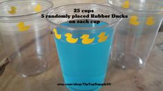 25 rubber duck, rubber duckie 10 oz. 12 oz. or 16 oz. clear party cups, cup for your party fun. Disposable cups. Baby Shower  Vinyl B-115