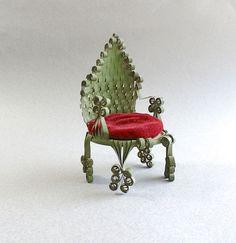 Vintage Tin Can Art Pin Cushion - Folk Art Doll Chair -