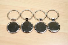 12 Blank 30mm Key Chain Blanks -  Round  Shiny Silver Plated Bezels Settings 30 mm Photos Charms.Optional 30mm Glass offered