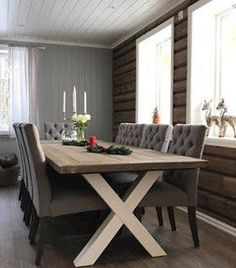 Spisestuebord spisebord håndlaget Korshagan gårdssnekkeri Dining Bench, Furniture, Home Decor, Homemade Home Decor, Table Bench, Home Furnishings, Decoration Home, Arredamento, Dining Room Bench