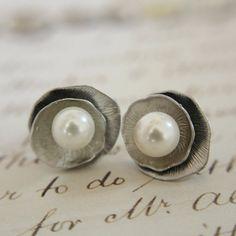 Silver Lotus  Earrings Wedding Pearl by anatoliantaledesign, $22.00