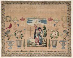 """A 19th Century French Sampler Stitched By Francoise ~ """"offert au plus chéri des pères et à la plus tendre des mères"""" ~ Cleveland Museum"""