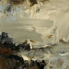 Louise Balaam. This painting has a messy and yet smooth effect. I can almost feel the palette knife glide across the canvas from left to right. I call the painting messy because it has an overtly effortless quality about it. The palette is neutral and balanced with the dark brown notes along three out of four edges.
