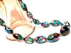 Murano Glass Millefiori Bead Necklace Oval Chunky Graduated