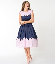Unique Vintage Navy Blue & Pink Stripe Scalloped Sonoma Swing Dress