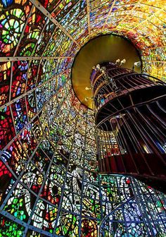 Spiral Staircase at the Hakone Open-Air Museum, Kanagawa, Japan.