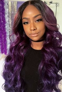 2018 Winter Hair Color Ideas For Black Women – The Style News Network Hair Color Ideas hair color ideas for black people Hair Color For Women, Hair Color For Black Hair, Love Hair, Purple Hair, Purple Ombre, Sew In Weave Hairstyles, Wig Hairstyles, Fashion Hairstyles, Black Hairstyles