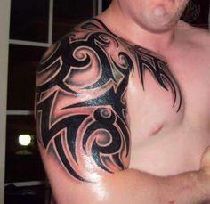 Half+Sleeve+Tribal+Tattoo+Design | Awesome Tribal Tattoo On Shoulder And Half Sleeve