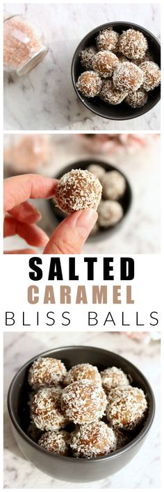 These salted caramel bliss balls are healthy, refined sugar free, dairy free and. - These salted caramel bliss balls are healthy, refined sugar free, dairy free and just as delicious as the real-deal salted caramel. Sugar Free Recipes, Almond Recipes, Raw Food Recipes, Sweet Recipes, Snack Recipes, Dessert Recipes, Baking Recipes, Breakfast Recipes, Desert Recipes