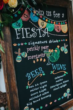 Fiesta Chalkboard Hand painted chalkboard sign.  Gage Hotel Weddings.  Amber Vickery Photography