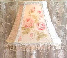 10 5 Lamp Shade Mary Rose Fabric Lace Beads Chic Shabby Cottage Lampshade Pinks | eBay