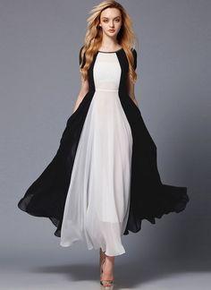 Black and White Maxi Dress with Rhinestone Neck