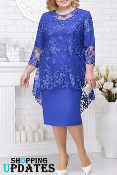 Mother of The Bride Dress - Women's Lace Top Mother of The Bride Dresses for Wedding Plus Size. Mother Of Bride Outfits, Mother Of Groom Dresses, Mothers Dresses, Mother Of The Bride Dresses Plus Size, Latest African Fashion Dresses, African Dresses For Women, Plus Size Cocktail Dresses, Plus Size Dresses, Stylish Dresses