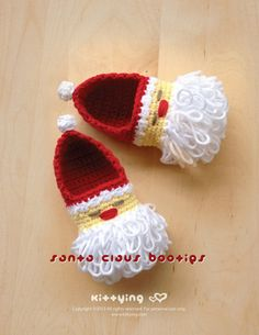 Santa Claus Baby Booties Crochet PATTERN for Christmas Winter Holiday - Chart & Written Pattern