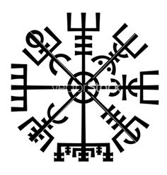 Vegvisir the magic compass of vikings runic vector on VectorStock