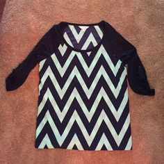 navy blue and mint green chevron shirt Medium sized shirt from Charming Charlie. Never worn Charming Charlie Tops Blouses