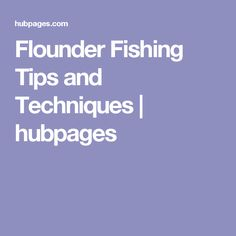 Flounder Fishing Tips and Techniques   hubpages