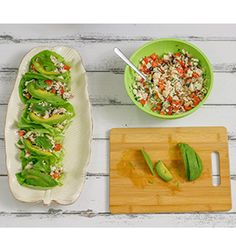 These lettuce cups are packed with the cool flavors of traditional ceviche – lime, cilantro, garlic and hot peppers – but feature hearts of palm and tofu rather than raw fish. This recipe is part of Meatless Monday's No-Cook Summer Recipe video series. Serves 3-4, makes about 12 lettuce cups 1 (14 oz.) can hearts of