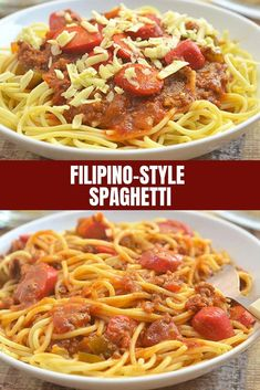 Filipino-style Spaghetti Filipino Spaghetti is the ultimate comfort food. Made of meaty sauce, hot dogs, and banana catsup, this classic Filipino pasta dish is a guaranteed party hit! Hot Dog Spaghetti, Filipino Spaghetti, Easy Pasta Recipes, Spaghetti Recipes, Dinner Recipes, Dinner Entrees, Jollibee Spaghetti Recipe, Comida Filipina, Banana Ketchup