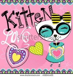 Cute abstract illustration with hearts, ornament, cat with heart. Wallpaper for children and girls. Pretty fashion girlish illustration for t-shirt design.