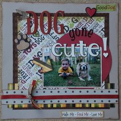 Sweet Scrapbook Layout for a Dog Dog Scrapbook Layouts, Scrapbook Sketches, Baby Scrapbook, Scrapbook Paper Crafts, Scrapbook Cards, Picture Scrapbook, Scrapbook Photos, Scrapbook Storage, Digital Scrapbooking Freebies