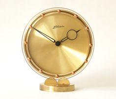 Kienzle Art Deco brass desk table clocks clear arylic glass ...