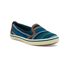 The Sak Cadenza Slip-Ons ($59) ❤ liked on Polyvore featuring shoes, sneakers, denim stripe, pull on shoes, denim sneakers, slip on sneakers, pull on sneakers and slipon shoes