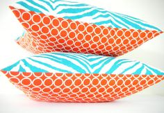 Modern Pillows Turquoise and Orange Pillow Blue by CityGirlsDecor