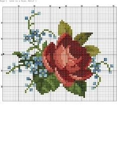 Rose and forget me nots chart Cross Stitching, Cross Stitch Embroidery, Embroidery Patterns, Cross Stitch Heart, Cross Stitch Flowers, Modern Cross Stitch Patterns, Cross Stitch Designs, Embroidery Techniques, Zoom Zoom