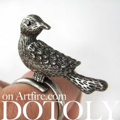 $10 Adjustable 3D Sparrow Bird Animal Ring in Silver with Feather Detail