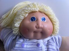 80s Cabbage Patch Kid Girl Doll Blonde Hair Pony tail blue eyes