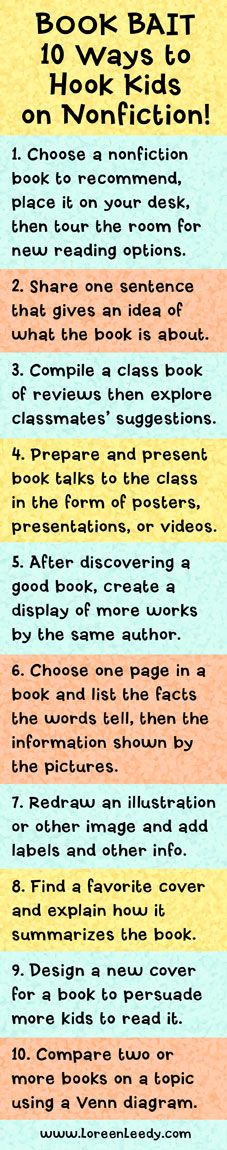BOOK BAIT: 10 Ways to Hook Kids On Nonfiction! Peer reviews and other activities to engage kids in reading informational texts.