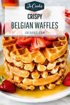 Belgian Waffles with a crispy exterior and light fluffy interior. Add your favorite toppings for the perfect weekend breakfast or brunch! #belgian #waffles #belgianwaffles #recipe #breakfastgoals Breakfast Items, Breakfast Recipes, Waffle Maker Recipes, Jo Cooks, Belgian Waffles, Cooking Recipes, Flour Recipes, Breakfast Casserole, Desert Recipes