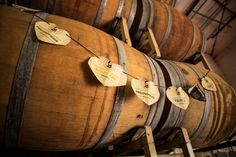 Wine barrels in Adelbert's tasting room. Used to age beer for the Vintage Series special releases!