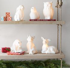 RH baby&child's Fawn Porcelain Nightlight:Woodland animals come to life when our porcelain lamps light up. Propped atop a dresser or nightstand, they cast a reassuring glow throughout the room.