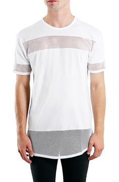 Topman Mesh Panel Longline T-Shirt available at #Nordstrom