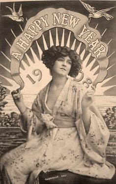 New Year card featuring edwardian actress Gabrielle Ray c. Gabrielle was known as one of the most photographed women of her time. Vintage Happy New Year, Vintage Holiday, New Year Wishes, New Year Card, Vintage Pictures, Vintage Images, Vintage Postcards, Vintage Ads, Vintage Vibes