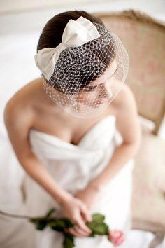Birdcage Veil with Silk Bow, Blusher Veil, Silk Bow, Wedding Veil, Small Birdcage Veil, Mini Veil - Audrey. $125.00, via Etsy.