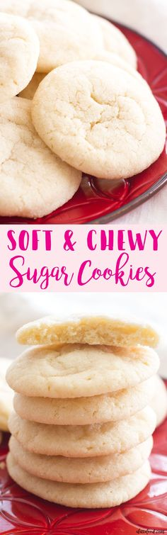 These soft and chewy sugar cookies are a Christmas cookie staple! This no-chill dough sugar cookie recipe is full of simple ingredients and comes together quickly! Simple Sugar Cookie Recipe, Simple Cookie Recipes, Easy Yummy Desserts, Diabetic Cookie Recipes, Christmas Sugar Cookie Recipe, Cookie Recipes For Kids, Easy Holiday Recipes, Dessert Recipes, Cookie Ideas