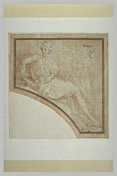 Le Primatice: Terpsiphone: dessin plume, encre brune, rehaut de blanc, pierre noire, mise au carreau à la pierre noire Musée du Louvre