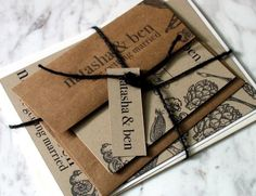 Recycled wedding invitation suite