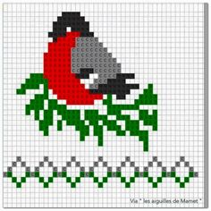 bird- graph for knitting or cross stitch Knitting Charts, Knitting Stitches, Knitting Socks, Baby Knitting, Knitting Patterns, Crochet Patterns, Crochet Designs, Crochet Baby, Cross Stitch Bird