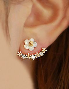 Fashion Imitation Pearl Earrings Small Daisy Flowers Hanging After Senior Female #Jewelry