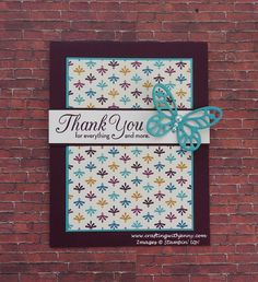 Crafting With Jenny -- Card of the Day features Stampin' Up!'s One Big Meaning stamp set and Bold Butterfly Framelits Dies. A full supply list and instructions to recreate this card available here.