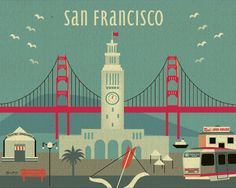 11x14 Modern San Francisco Ferry Building Skyline - Poster - style-E11-O-SF13 from Loose Petals