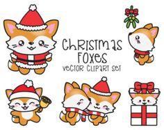 Conjunto gráfico - vectores de alta calidad - Navidad de Kawaii Fox imágenes prediseñadas los zorros Premium Vector Clipart - Navidad de Kawaii zorros - Linda Navidad