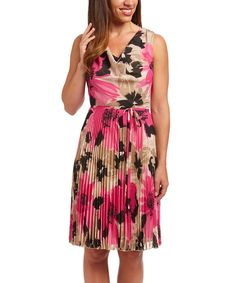 Look at this Black & Pink Floral Sleeveless Dress on #zulily today!